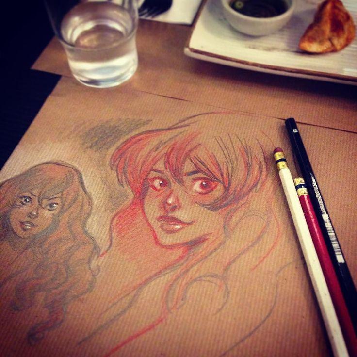 Drawing on the table at the restaurant #canthelpmyself #art #sketch #pencil #kraftpaper #midamparis #midamrestaurant #koreanfood #sketch #colerase #instart #artoninstagram #artistsoninstagram #margauxkindhauser by margauxmara