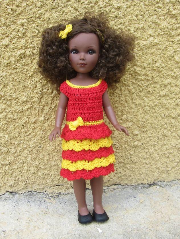 72- FICHE PATRON CROCHET Tenue Dentelle pour poupée Vidal Rojas : Jeux, jouets par atelier-crochet
