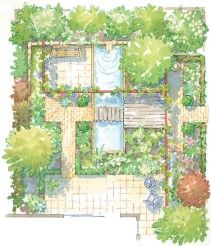 small square garden provides varied paths and seating areas with lush screening - Garden Design Drawing