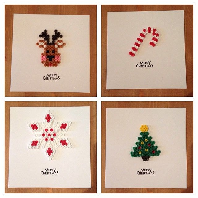 Christmas cards hama beads by beadgeekcreations More