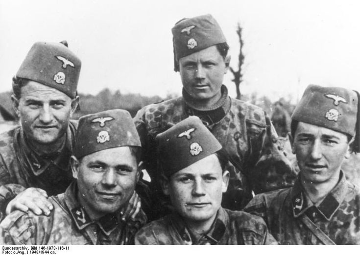 Members of the Muslim SS Division Handschar pose for the camera, 1943/44. Other than committing atrocities against Christian Serbs, the Handschars proved themselves less than battle-worthy and their claim to history is the admittedly most colorful uniform topped by the red fez.