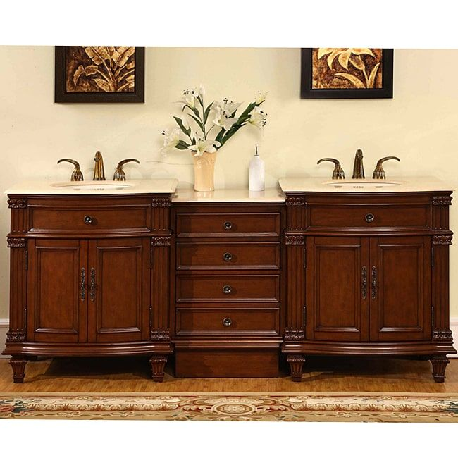 Awesome Websites Silkroad Exclusive Marble Top inch Double Sink Vanity Cabinet