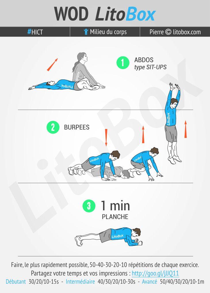Séance au poids du corps sans matériel ciblée sur les abdominaux même si les burpees vontsollicitertout le corps. La minute de planche permet de retrouve