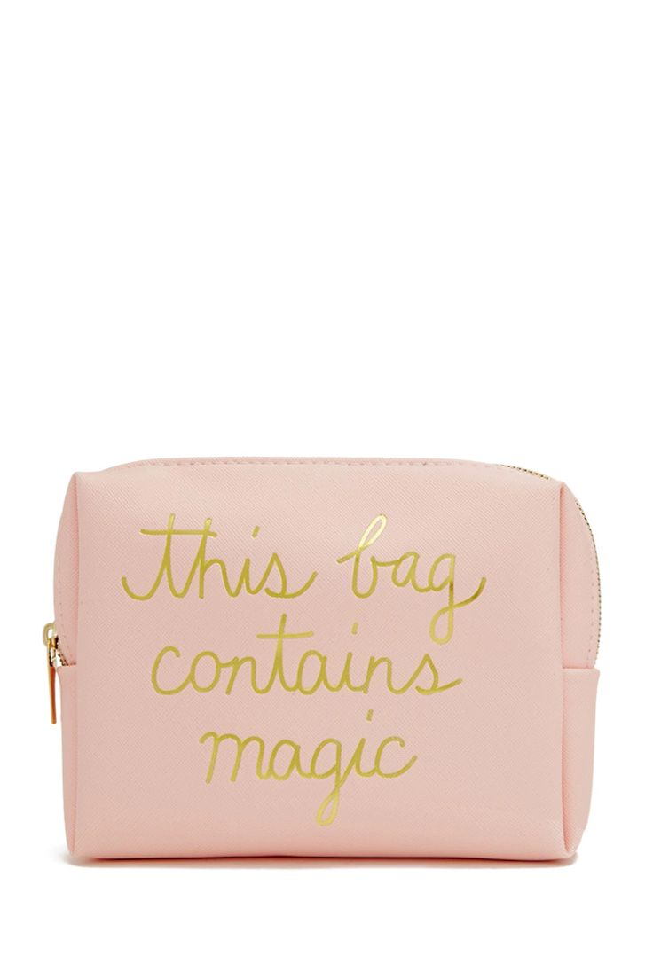 "A textured faux leather makeup bag featuring a metallic ""This Bag Contains Magic"" graphic on front and a high-polish zip-top closure."