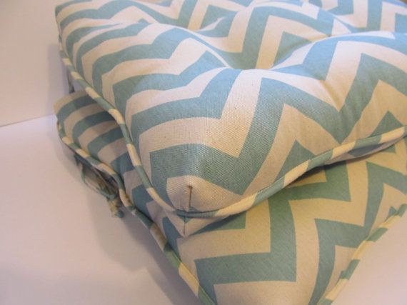Items Similar To One Tufted Cushion Chair Pad With Piping Trim In Aqua Natural Flecked Chevron Pattern RockerRocking Glider Or Dining ChairBar Stools On