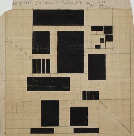 Th. van Doesburg. 'De spitter'. Glas in loodcompositie, ca 1917-1928. Collectie NAi / DOES AB5070. Bruikleen van Instituut Collectie Nederland, Rijswijk/Amsterdam. Gift Van Moorsel.