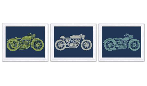 Navy Blue Motorcycle Nursery Art Nursery Prints Transportation Set of 3 Prints Teal Blue Lime Green Grey Boys Art Baby Boy Wall Decor
