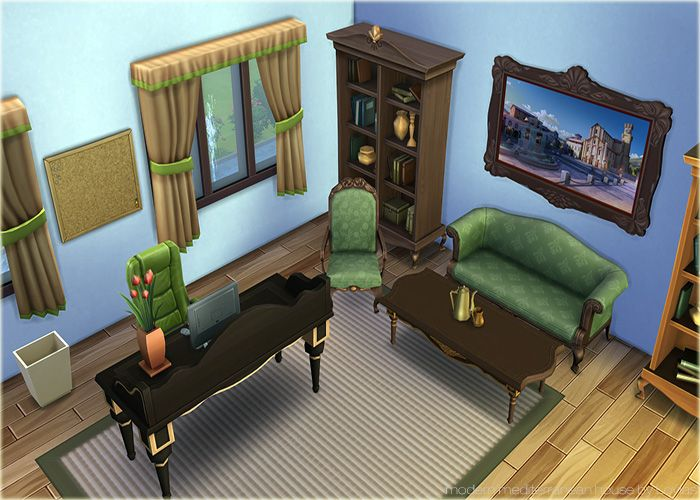 """first decorated office in Sims 4  """"House Mediterana (No CC)2"""