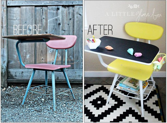 Adorable desk makeover! Would love to do something like this for Eli's playroom, or toddler room.