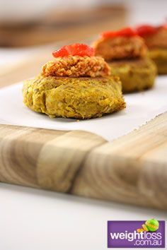 Healthy Entertaining Recipes: Mini Lentil burgers with Hummus and Roasted Capsicum. #HealthyRecipes #DietRecipes #WeightlossRecipes weightloss.com.au