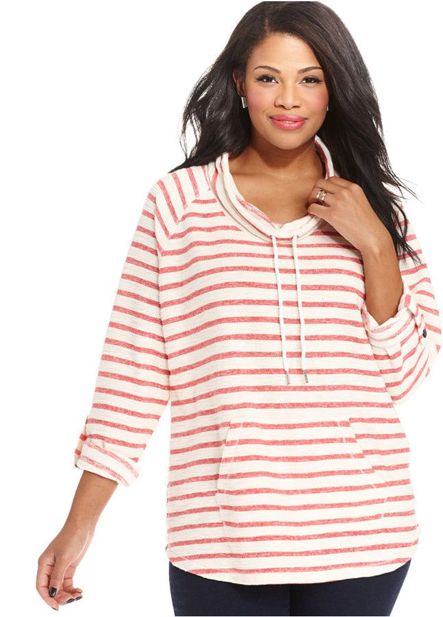 Style&co. Cowl-Neck Striped Tunic