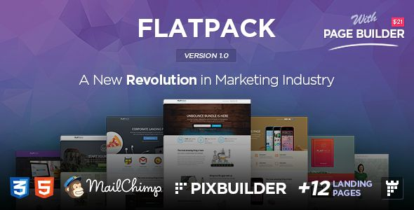 FLATPACK – Landing Page Template With Page Builder
