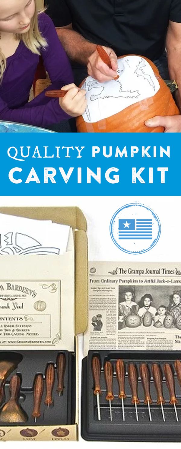 Carve amazing pumpkins—and create memories—with your family. This pumpkin carving kit is made in the USA and designed to last a lifetime.