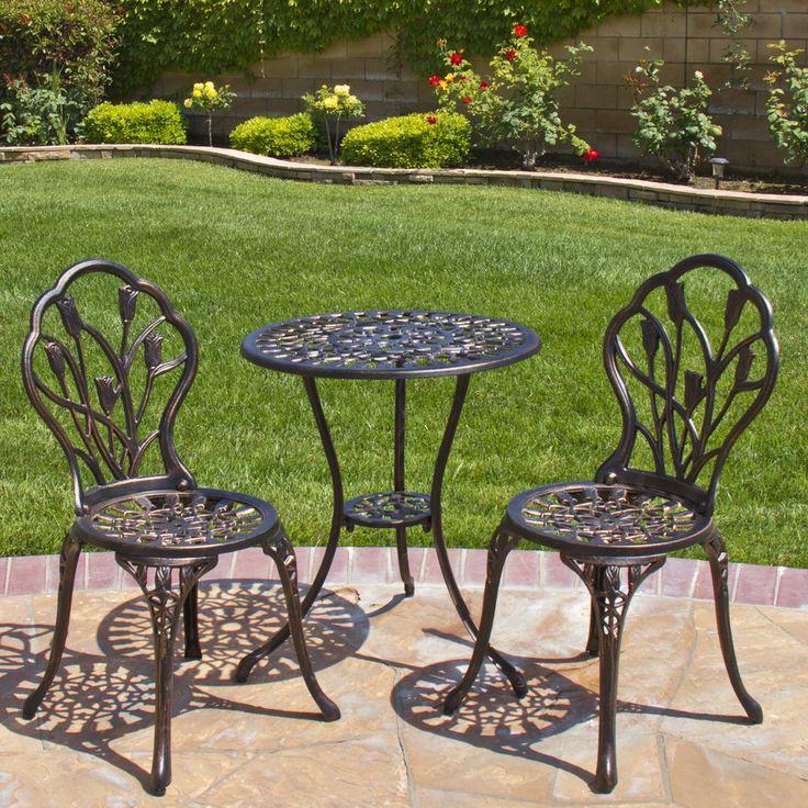 Outdoor Bistro Patio Set Table Chairs Aluminum Small Space Furniture Pool Garden #OutdoorBistroPatio
