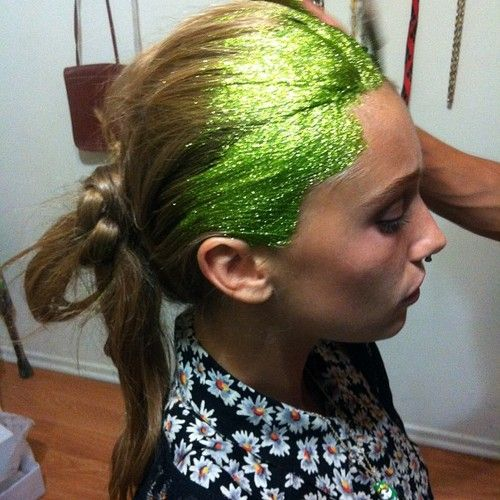 When you have too much fun with neon green glitter.