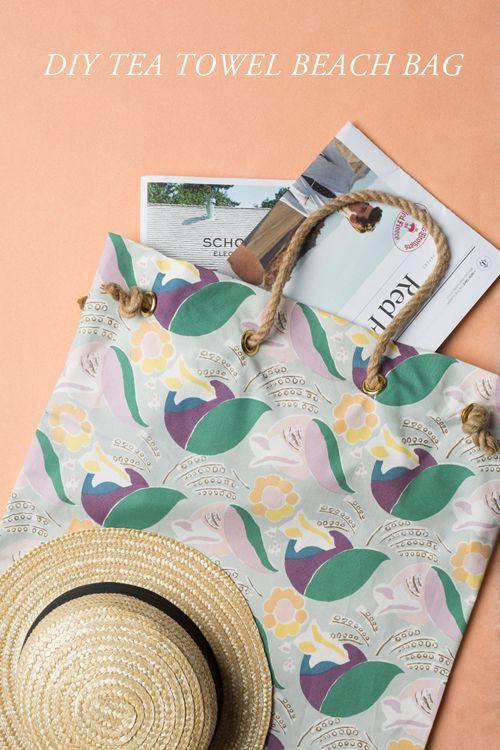 Tea towel beach bag tutorial.