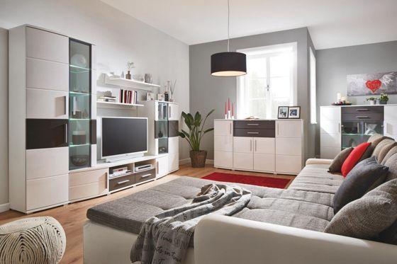 stylische wohnwand in wei und grau ein hingucker mit. Black Bedroom Furniture Sets. Home Design Ideas
