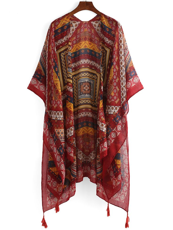 Shop Tribal Print Tassel Trimmed Kimono online. SheIn offers Tribal Print Tassel Trimmed Kimono & more to fit your fashionable needs.