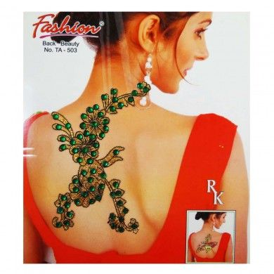 Mehendi Tattoo Sticker Green Acrylic Stone Glitter Temporary Fashion Accessory