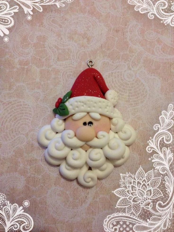 1 Ciondolo in Fimo Babbo Natale Offerta per bijoux collane handmade - Valery Creazioni
