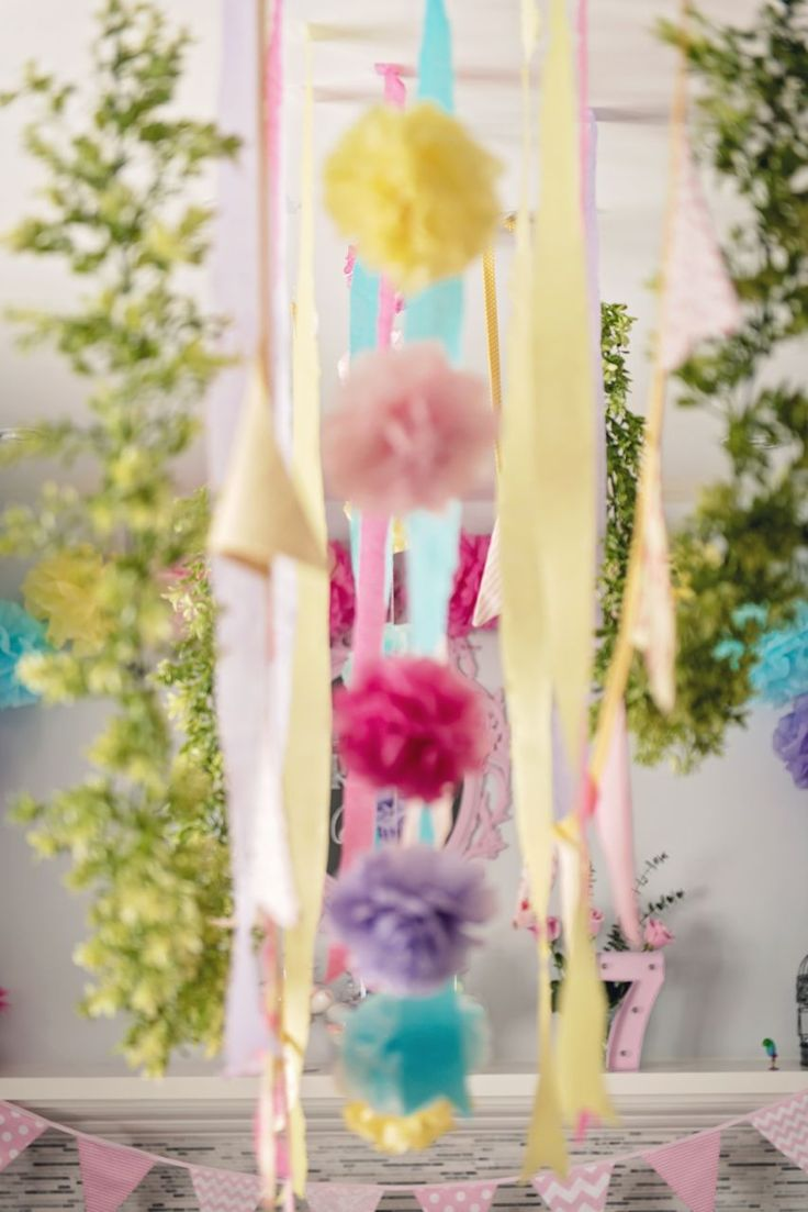 Decorations from a Trolls Inspired Birthday Party #trollsparty #trollsdecorations #kidsparty