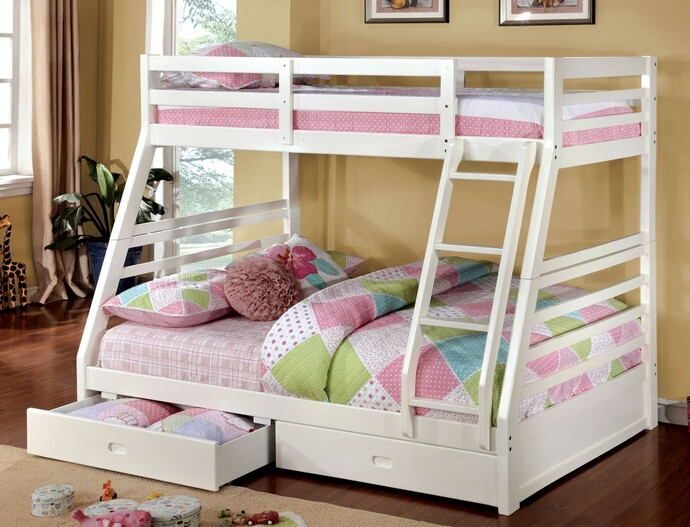 """78 3/8""""L x 56 1/2""""W x 65""""H California III White Wood Finish Mission Style Twin over Full Bunk Bed with Front Access Ladder with 2 Under bed Drawers. Bunk bed is space efficient and made of White Finish Wood Frame, solid pine and plywood construction. Features upper safety rails, front access angled ladder and 10 pc. slats each top and bottom. 2-underbed Drawers are included with carved in handles. Bunk Bed measures 78 3/8""""L x 56 1/2""""W x 65""""H. Some assembly may be required and Upper Bed…"""