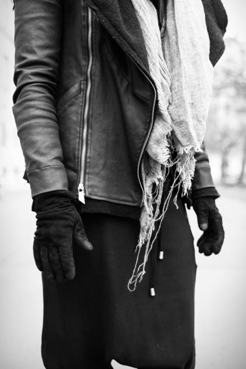 all black,white,post fashionistic,biker jacket,leather,drop crouch pants,layers