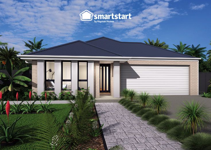 Banforth with Linden Facade   Vertical pillars give any home an unforgettable WOW factor.  #firsthomebuyer #smartstart #smartstarthomes #streetappeal #streetappealideas #streetappealaustralia #streetappealaustraliafrontyards #streetstyle #facadehousesinglestorey