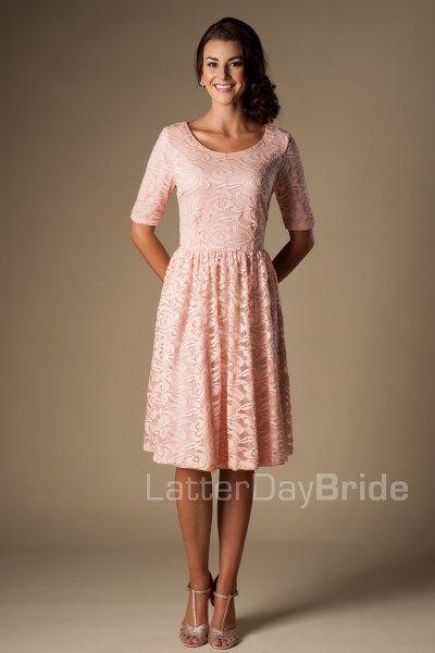 Modest bridesmaid dress mw22880 pink wedding for Latter day wedding dresses
