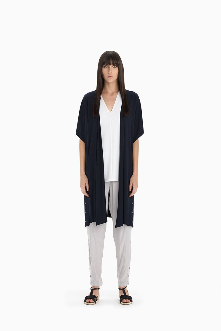 Navy Studded Duster + White Slice Shell + Sand Studded Soft Pant