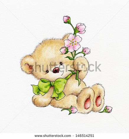 teddy bear with bow and flowers Gambar Tedy Bear Bergerak » Polarview.net