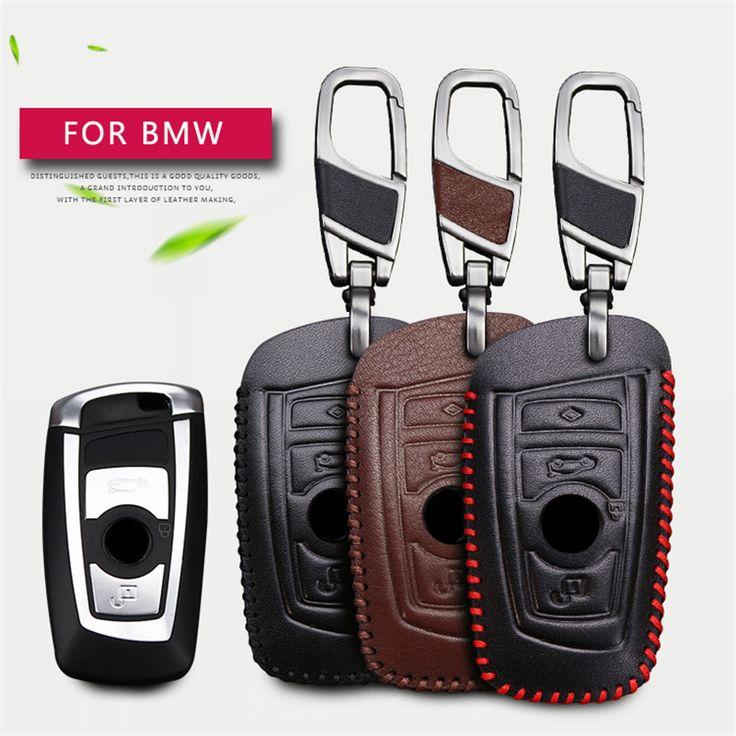Véritable Cuir De Voiture Smart Cover Case Clés Pour BMW  Clé Cas chaîne accessoires