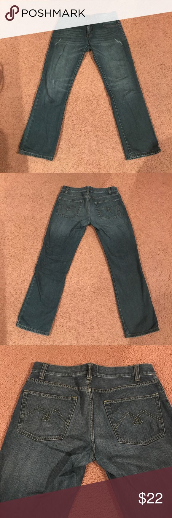 American Rag Jeans Medium wash American Rag jeans. Slight rip on each leg. Size 32 x 30 length. American Rag Jeans Slim Straight
