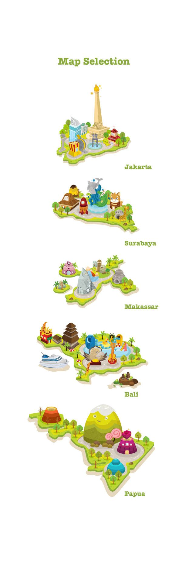 Indonesian citiies - Credoland by Tommy Chandra, via Behance  Bits of Indonesia