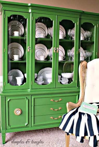 Green China Cabinet makeover by Jennifer of Dimples and Tangles