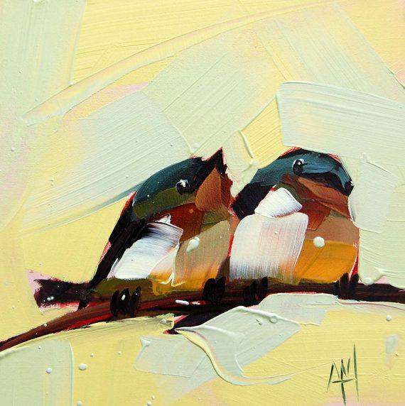 Two Barn Swallows bird art print by Moulton 8 x 8 by prattcreekart