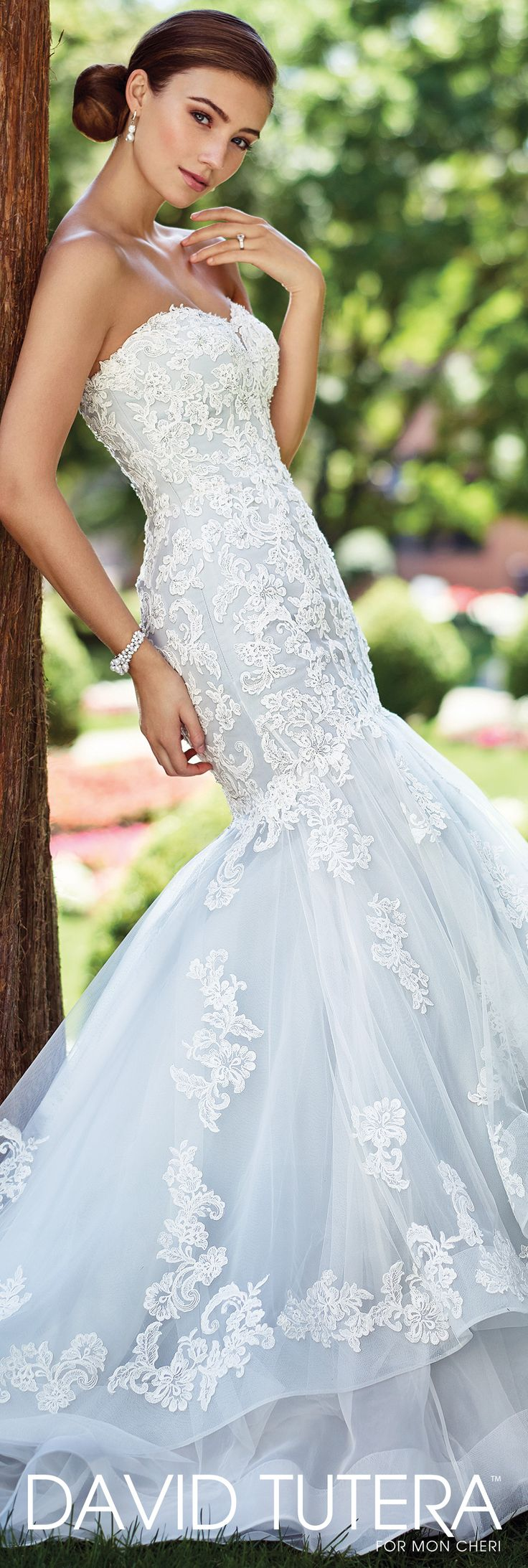 David Tutera for Mon Cheri Spring 2017 Collection - Style No. 117280 Dory - strapless lace mermaid wedding dress in Ivory/Sea Mist