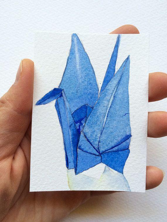 Blue origami paper crane (crane no. 8) - original watercolour ACEO by Zoya Makarova