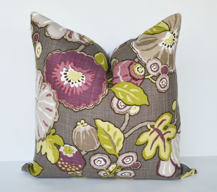 Decorative Pillow 20x20 plum, green purple and taupe Floral Accent Pillow Throw Pillow Cushion ...