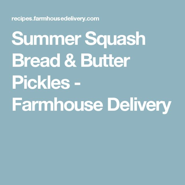 Summer Squash Bread & Butter Pickles - Farmhouse Delivery