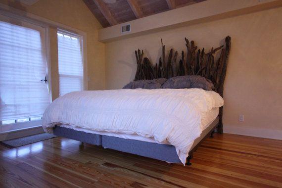 Driftwood Headboard for Twin Full Queen or by CustomDriftwoodArt
