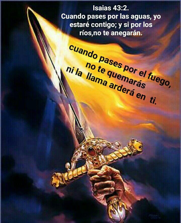Isaias 43:2. Cuando pases por las aguas, yo estaré contigo; y si por los ríos, no te anegarán. Cuando pases por el fuego, no te quemarás ni la llama arderá en ti.