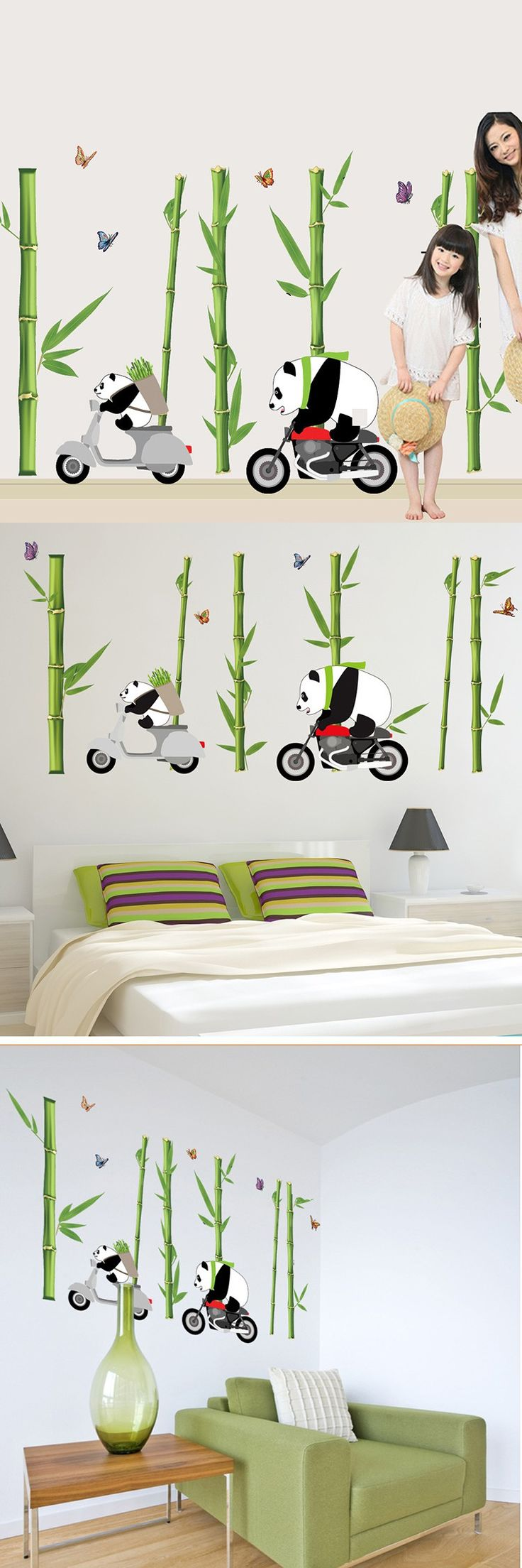 Wall stickers diy - New Cute Panda Bamboo Large Wall Stickers Home Decor Living Room Diy Art Decals Removable Pvc Wall Sticker For Decoration