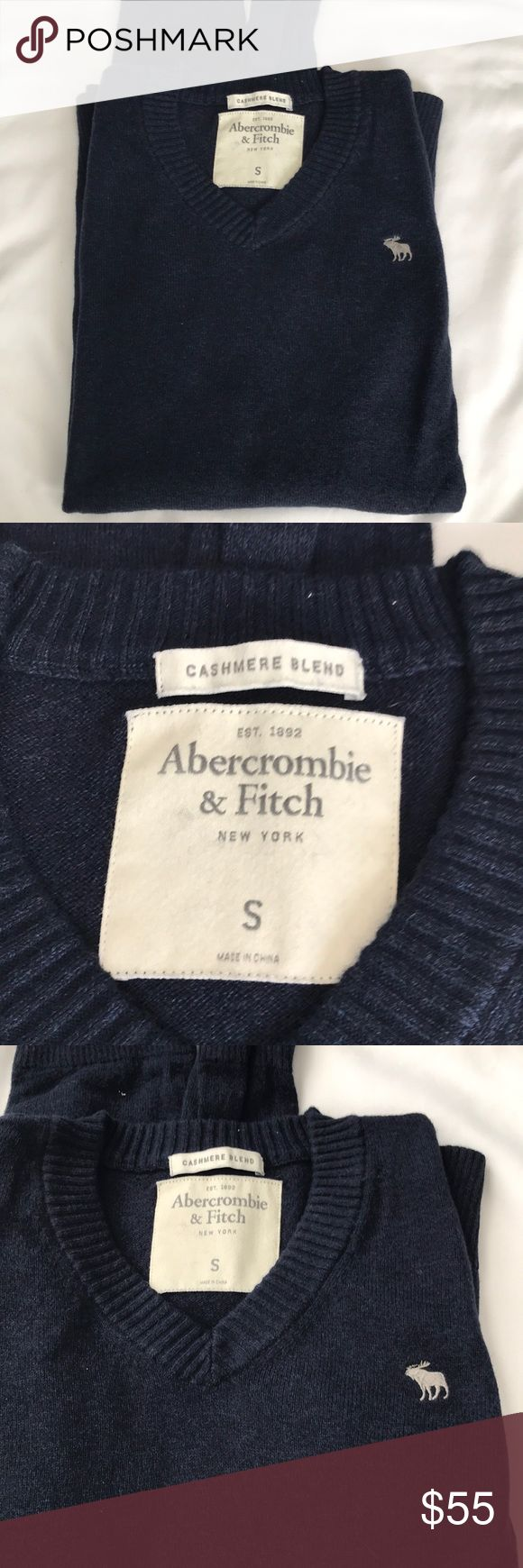 Abercrombie & Fitch Cashmere Sweater Men Small Abercrombie & Fitch Cashmere Bland Sweater Men Small  From far away look like a darker blue but up close you can see a litter blue and purple mixed in. Super soft and in great condition. Abercrombie & Fitch Sweaters V-Neck