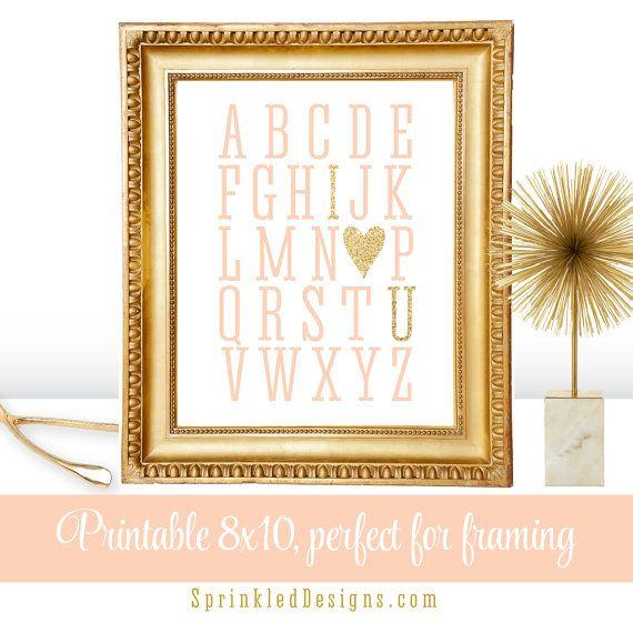 Alphabet ABC I Love You Heart Printable Girl by SprinkledDesign