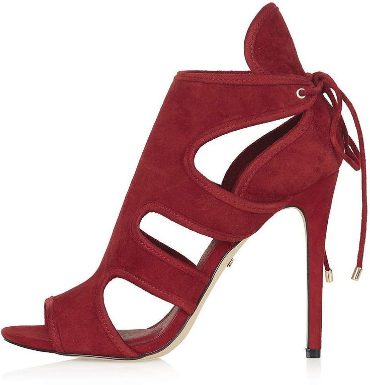 Womens carmine reveal cutaway sandals - red, red from Topshop - £56 at ClothingByColour.com
