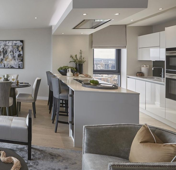 Sleek show apartment in the city we designed earlier this year. Furnishings make such a difference to a new build property- this open plan room looked twice the size once we'd furnished it with the right pieces ✔️