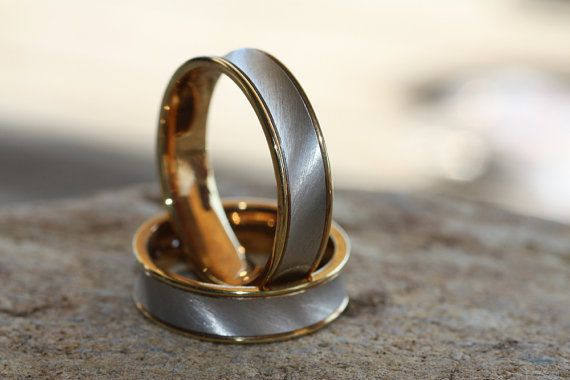 Wedding band/Two tone Wedding bands/White Gold 14K ring/Yellow