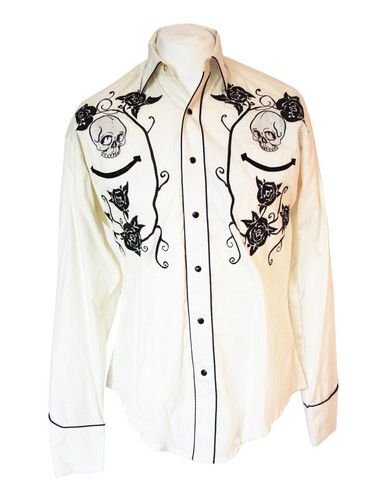 Rockmount White Skull and Rose Western Cowboy Shirt – Bronco Bill's