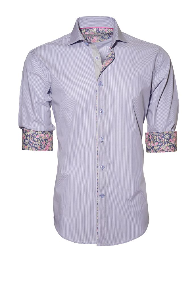 Ethan Williams Blue Stripe Floral-Contrast Button-Up